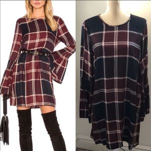 BCBGENERATION plaid dress with bell sleeves